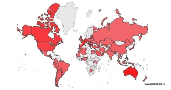 Минимальная зарплата по странам мира 2018 тепловая карта